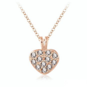 Rose gold + silver necklace crystal pendant jewelry female love elegant boutique 73bh31 [Milan]
