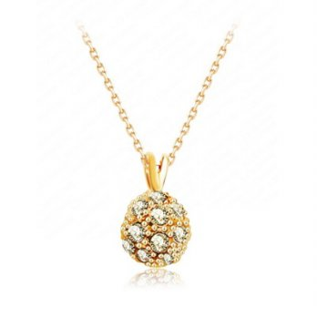 Rose gold + silver necklace crystal pendant jewelry female spherical 73bh30 [Milan] Gifts