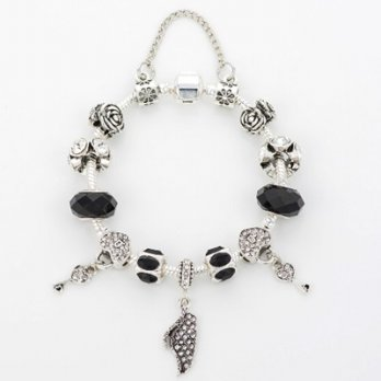 925 sterling silver bracelet Pandora beaded crystal element black and white roses female accessories