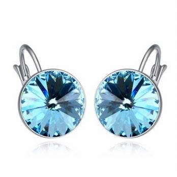 Crystal earrings 925 sterling silver jewelry female classic circular color 73bc10 [6] Milan boutique