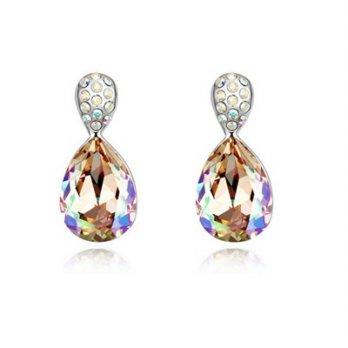 Crystal water droplets diamond earrings 925 sterling silver jewelry female color 73bc5 [4] Milan bou