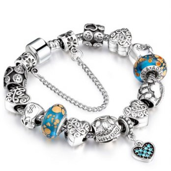 Beaded bracelet 925 sterling silver Pandora glass element of love diamond female accessories boutiqu