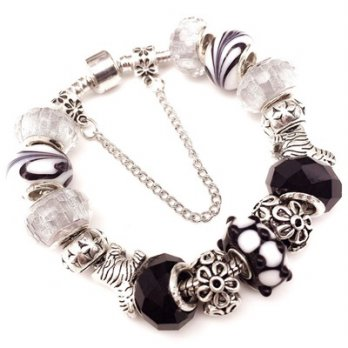 Pandora Sterling Silver beaded bracelet element crystal glass classic black and white female accesso