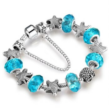 Beaded Bracelet 925 Silver Pandora element crystal blue starfish 9 female accessories boutique color