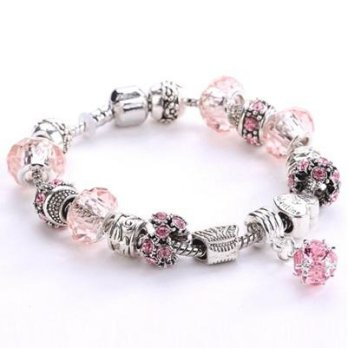 Pandora Bracelet 925 sterling silver crystal beaded elements Pink female accessories boutique in Mil
