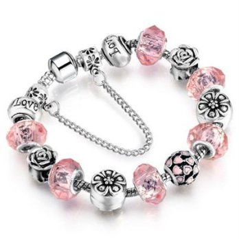 Pandora Bracelet 925 sterling silver crystal beaded elements sweet pink female accessories boutique