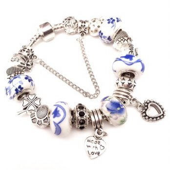 Pandora Sterling Silver beaded bracelet element glass love blue and white female accessories boutiqu