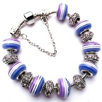 Pandora Bracelet 925 sterling silver glass beaded elements beautifully striped female accessories bo