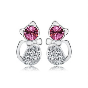 925 sterling silver earrings diamond ear acupuncture bow female cat jewelry boutique 73bj82 [Milan]