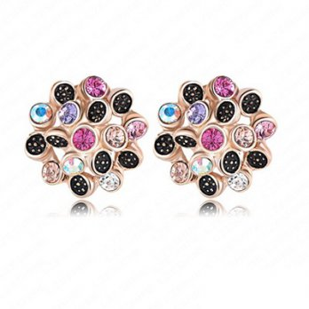 Silver rose gold earrings female jewelry unique flower crystal ear acupuncture 73bj56 [Milan] Gifts
