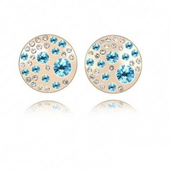 Silver rose gold earrings round diamond ear acupuncture jewelry retro female color 73bj10 [3] Milan