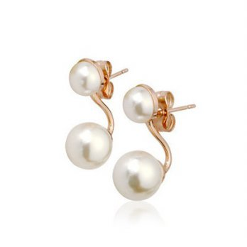 Rose gold diamond stud earrings sterling silver earrings female auricular delicate pearl color 73gs1