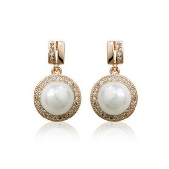 Rose gold diamond earrings classic pearl silver earrings female auricular acupuncture color 73gs146