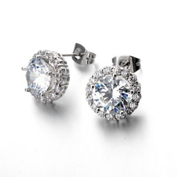 925 sterling silver earrings diamond earrings simple and lovely female Ear 73gs225 Milan [Collectibl