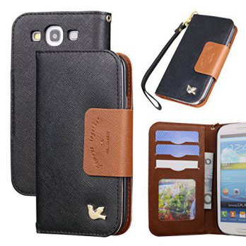[holiczone] Case for Samsung Galaxy S3,By Hilda,Card Holder,PU Leather Case,(Black)/236429