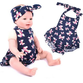1 Set Cute Baby Infant Girls Floral Ruffles Romper Birthday Party Outfits Jumpsuit Hairband