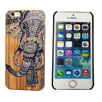 [holiczone] Fashion Case Genuine Bamboo Panel with Elephant Color Painting Hard Shell Case/150744