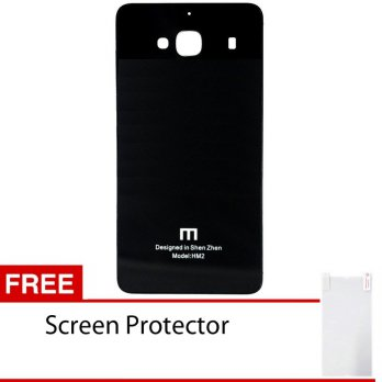 Back Case Xiaomi Redmi 2S Tempered Glass Series List Silver - Hitam / Free Screen Protector