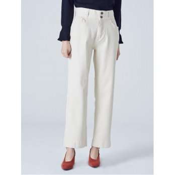 8seconds Twill Cotton High-waist Pants - Ivory