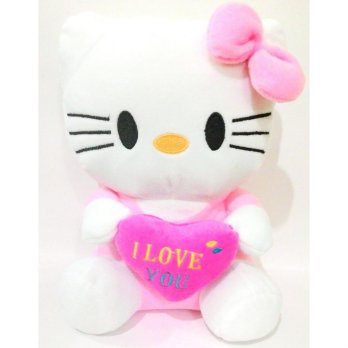 Smiley Kids Boneka HelloKitty Tinggi 25cm - Pink Soft (M) - Free Sticker