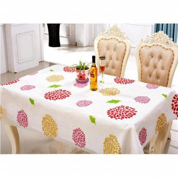 Alas Taplak Meja Makan Cover Meja Anti Air LEAVES bahan PEVA Motif Sunflower Best Seller