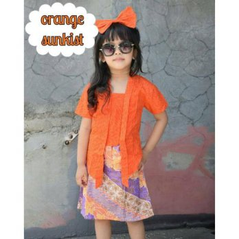 Nahyda kebaya Orange Sunkist (Free Headband  Rok)