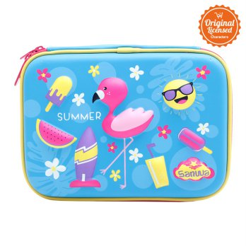 Sanwa Pencil Case Flaminggo Blue