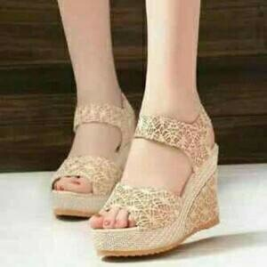 Wedges Brukat Cream ON29