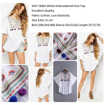 White Embroidered Pom Top (size S,M,L)-14853