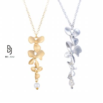 BE.JUU Kalung Flower Up Gold & Silver Korean Jewelry | Material New Brass
