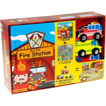 [HelloPandaBooks] My Little Fire Station Play Set (Book, Puzzle, 3 Wooden Emergency Vehicle Toys)