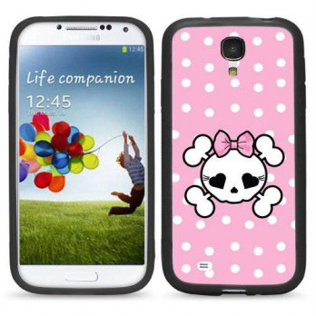 [holiczone] Atomic Market S4 Pink Polka Dots Skull For Samsung Galaxy i9500 Galaxy S4 Case/88994