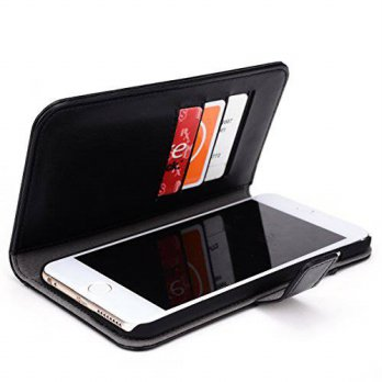 [holiczone] Kroo iPhone 6 6s Plus 5.5-Inch Display Case | Black Premium Leather Flip Walle/92615