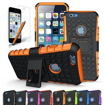 [holiczone] Cineyo Rugged Dual Layer Case with Kickstand for Apple iPhone 6/6S, Orange/104815