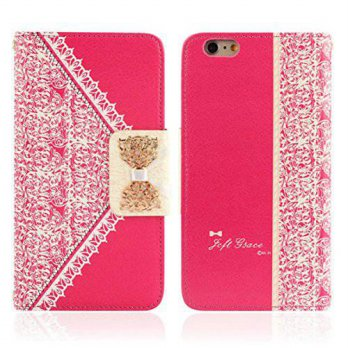 [holiczone] LUNIWEI Fresh Cute Lace Wallet Hot Pink Leather Case Cover for iPhone 6.../104958
