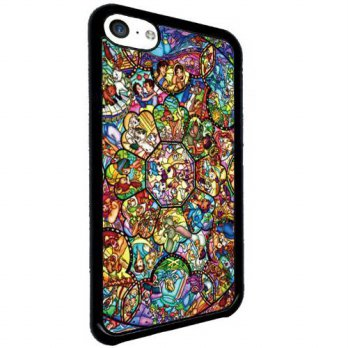 [holiczone] BlackflyCo Disney All Characters Stained Glass Iphone 5c Hard Case Black/109429