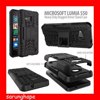 Microsoft Lumia 550 Heavy Duty Rugged Armor Stand Case Casing Cover