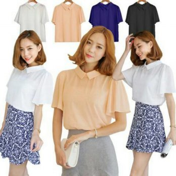 (High Quality) Lovely Shirring Chiffon Blouse (Model 05)