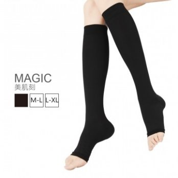 Body Magic 360D Sculpture Carved Open-toed Socks Calf JG-351 Into One Pair