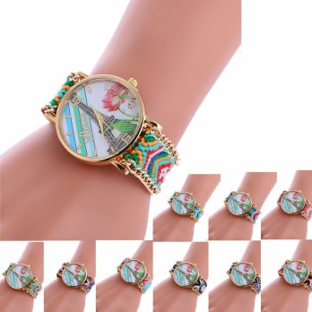 Bracelet Wrist Watch Weaved Rope Band Knitted Gift Women Dial Tower Pattern