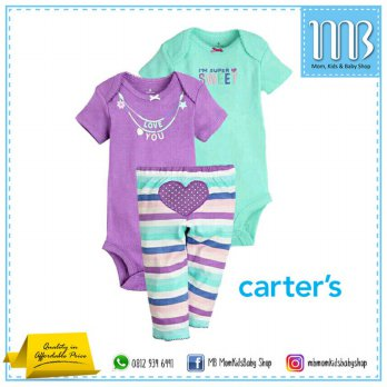 (Platinum) Baju Bayi Jumper Carter Set 3in1 Love You