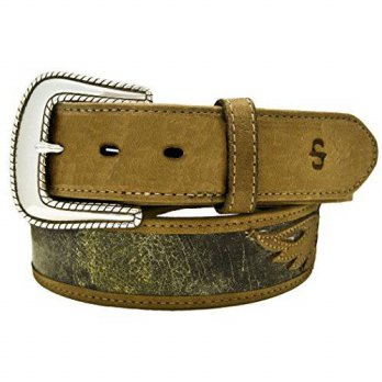 [Macyskorea] Stetson Mens Eagle Overlay Distressed Leather Belt Tan 40/11242195