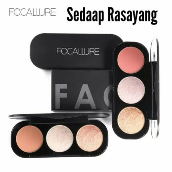 FOCALLURE 3 Colors Blush On & highlighter Palette Face ORI