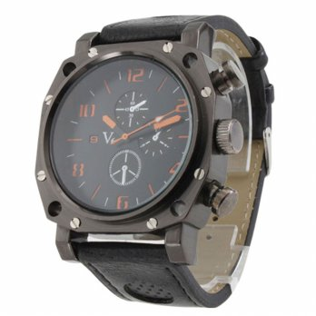 Fashion Leather Strap Quartz Watch Sports Watches Orange Literal Black Strap Quartz Watch Black Men