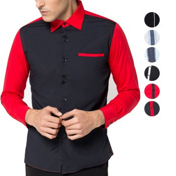 VM Kemeja fashion Trendy pria slim fit NEW mode kombinasi panjang katun