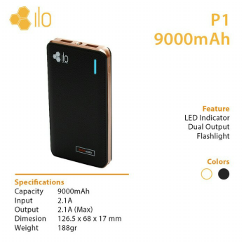 Hippo Power bank ILO P1 9000 mAH Powerbank 9000mAh - Original Resmi