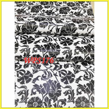 WALLPAPER STICKER WPS176 WHITE N BLACK DECORE WALPAPER STIKER DINDING
