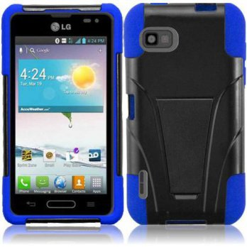 [holiczone] HRWireless T-Stand Kickstand Hybrid Double Layer Cover Case for LG LS720 - Ret/176108