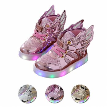 LED Kids Wings Sneakers | Sepatu LED Anak Sayap | Colors: Gold/Pink/Silver