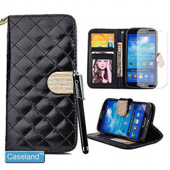 [holiczone] CASELAND Galaxy S4 Case,Galaxy S4 Wallet,By Caseland Grid Pattern Bling Button/93280